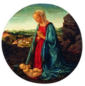 Francesco Botticini, Madonna in adorazione del Bambino, tavola. Courtesy collezione Credito Bergamasco