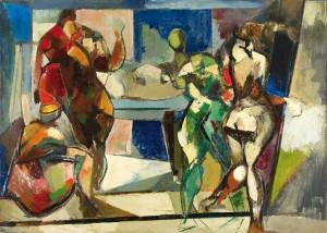 Domenico Rossi, Figure (Atelier), 1953 ca., olio su faesite. Courtesy Collezione Fondazione Credito Bergamasco