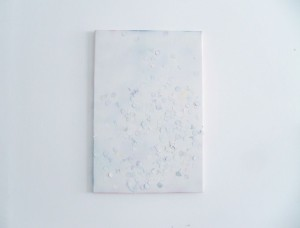 Jacopo Miliani, Untitled, 2014, spray acrilico e coriandoli su tela, 40x60 cm
